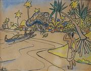 Sale 8867A - Lot 5112 - Artist Unknown (2 works) - A pair of Tahitian Scenes c 1940s 24.5 x 33.5cm