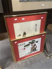 Sale 8898 - Lot 2074 - Pair of Chinese Silk Embroideries,  frame size 66 x 49 (largest),