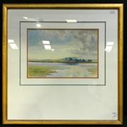 Sale 8936 - Lot 2012 - Artist Unknown Low Tide on River Alde watercolour, 23.5 x 34.5cm (60 x 60cm frame) signed -