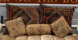 Sale 9160H - Lot 105 - A group of five scatter cushions in various sizes included a pair of geometric examples, width 70cm