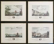 Sale 8259A - Lot 49 - A Suite of Four 19th Century Style French Coloured Prints, 	each with scenes of various ports, 35 x 29cm each