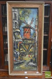 Sale 8277 - Lot 1003 - Artist unknown, Moulin Rouge, oil on canvas, 76 x 30cm