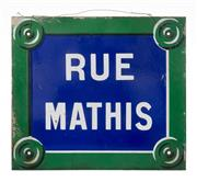 Sale 8422A - Lot 62 - An antique French enamel street sign Rue Mathis, 35 x 40cm