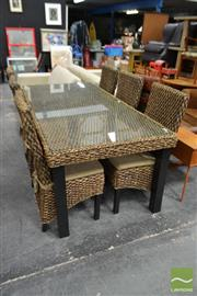 Sale 8495F - Lot 1086 - Wicker Seven Piece Dining Setting incl. Glass Insert Top Table & Six Chairs with Cushions