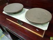 Sale 8559 - Lot 1058 - Late 19th Century French Shop Balance Scales, with brass trays, marble top & manufacturers plaque