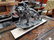 Sale 8697 - Lot 1043 - Silver Coloured Lion Figure Mounted to Base