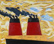 Sale 8907 - Lot 584 - Andrew Southall (1947 - ) - Red Funnels in the Sunset, 1987 90 x 110 cm