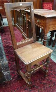 Sale 8939 - Lot 1095 - French Oak Pegged Chair, with timber seat & turned legs with stretchers. H: 89, W: 37, D: 39cm