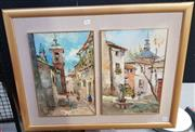 Sale 9019 - Lot 2046 - Eddie. Salo Town Scenes, (Diptych) oil on board, frame: 59 x 78 cm, each signed lower