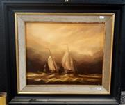 Sale 9061 - Lot 2048 - Artist Unknown, Tall Ships, oil on canvas, frame: 56 x 64 cm, signed lower right