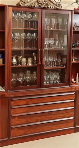 Sale 9097H - Lot 23 - A modular Danish rosewood display case with glass doors  over a four drawer cabinet, total Height approx 185cm x Width 1m x Depth 44cm
