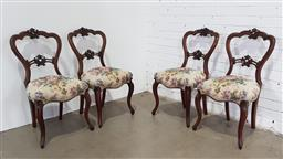 Sale 9179 - Lot 1056 - Set of Four Mid-Victorian Walnut Parlour Chairs, with carved balloon backs, floral upholstered seats & cabriole legs (h:87 x w:45 x...