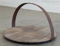 Sale 9174 - Lot 1436 - Rustic wooden tray with iron handle (h33 x 60cm)