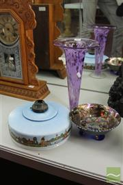 Sale 8217 - Lot 55 - Carnival Glass Bowl, Signed Vase & a Dutch Light Fitting