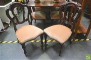 Sale 8277 - Lot 1033 - Set of Ten Victorian Style Mahogany Chairs, with Admiralty backs, pink velvet seats & turned reeded legs