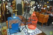 Sale 8328 - Lot 1093 - Birdcages x 2 and Wire Mannequin