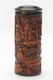 Sale 8662 - Lot 29 - Chinese Carved Hardwood Tube