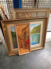 Sale 8671 - Lot 2091 - Group of (3) Assorted Artworks incl: original oil painting of a Lake; (2) Decorative Prints