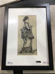 Sale 8695 - Lot 2023 - Artist Unknown - Study of Victorian Lady with Parasol ink and pencil, 32 x 23.5cm,