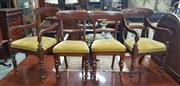 Sale 8917 - Lot 1061 - Assembled Set of 12 Mahogany Dining Chairs, including two armchairs, with rail backs, gold velvet seats & turned legs