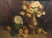 Sale 9016A - Lot 5014 - Justin OBrien (1917 - 1976) - Untitled (Still Life of Fruit and Flowers), 1936 65 x 87 cm