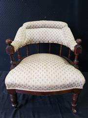 Sale 9014 - Lot 1095 - Late Victorian Tub Chair, with spindle gallery back & upholstered in a cream floral patterned fabric (h:72 x w:60cm)