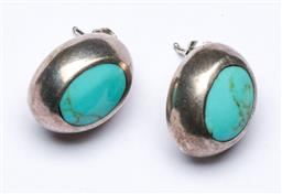 Sale 9144 - Lot 194 - After a design by Taxco, A Pair of Vintage Modernist Sterling Silver and Turquoise Post Earrings - wt 7g