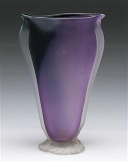 Sale 9148 - Lot 94 - Frosted art glass vase by B. Jane Cowrie (H:25.5cm)
