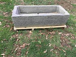 Sale 9175G - Lot 15 - Very large antique hand carved stone trough for water feature or planter.General wear , chipping ,  inside trough has some filling o...