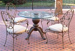 Sale 9190H - Lot 458 - A vintage 5 piece outdoor setting comprising a circular glass table on a melon column onto 4 carved outswept legs with claw feet. Th...