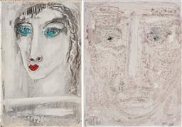 Sale 9208 - Lot 2092 - M. TELESE ( 2 works) Portraits in White oil on board 51 x 32 cm; 46 x 336 cm signed verso, each