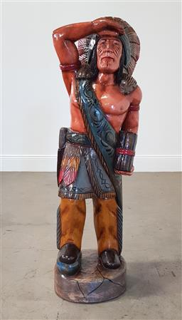 Sale 9218 - Lot 1001 - Carved timber Indian chief (h121cm)