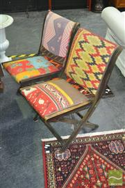 Sale 8262 - Lot 1032A - Set of Four American Patch Work Folding Chairs