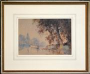 Sale 8332A - Lot 92 - Andrew Park (working 1940s - 1960s) - Barges under the Tree 18 x 26cm