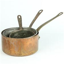Sale 8351A - Lot 92 - Set of Three Graduated French Copper Saucepans diameter 12-18cm depth 6-10cm(approx weight 1.5kg)