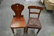 Sale 8460 - Lot 1008 - 19th Century Cedar Hall Chair, the balloon back with laurel border & on turned legs (w Another?)