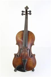 Sale 8783 - Lot 44 - A Violin in Case With Bow (Damaged)