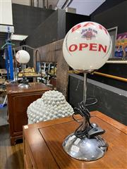 Sale 8876 - Lot 1011 - Pair of Jim Beam Glass Ball Shade Table Lamps