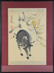 Sale 8902C - Lot 610 - Framed Chinese Paintin of Cow and plant (L58.5cm x W44cm)