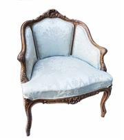 Sale 9015J - Lot 25 - A vintage French bergère carved armchair with cream damask upholstery.  77 T  x 67 W x 50 D