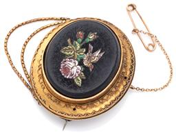 Sale 9124 - Lot 440 - AN ANTIQUE PIETRA DURA LOCKET BROOCH; featuring a 38 x 32mm oval black stone plaque insert with coloured tesserae depicting a bird a...