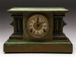 Sale 9119 - Lot 185 - A Sessions green painted timber mantle clock (H:28cm W:42cm) (Untested)