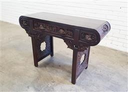 Sale 9129 - Lot 1037 - Carved timber Chinese hall stand with 3 drawers (h81 x w120 x d46cm)