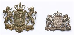 Sale 9144 - Lot 441 - Two Dutch House of Orange Military badges, in brass and silver L4-5cm