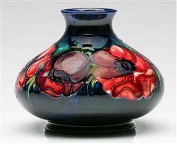 Sale 9192 - Lot 41 - A Small Moorcroft Squat Vase Decorated with Poppies (H:13cm Dia:16cm)