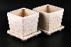 Sale 7513 - Lot 87 - A PAIR OF CRACKLE GLAZE PLANTERS WITH UNDERTRAYS