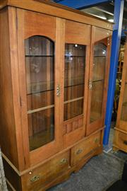 Sale 8115 - Lot 1200 - Raised Timber Bookcase w 2 Glass Panel Doors, Glass Shelves & 2 Drawers Below