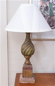Sale 8550H - Lot 21 - A Venetian style turned timber lamp with cream shade, total height 90cm.