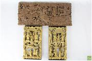 Sale 8599 - Lot 60 - Carved Wooden Oriental Wall Plaques (Gold Examples H:33cm) (Other L:53cm H:23cm)