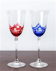 Sale 8774A - Lot 29 - A pair of bohemian cased wine glasses in red and blue floral design, H x 24.5cm